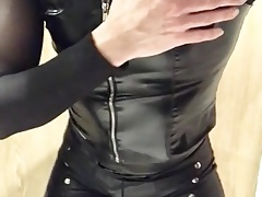 Faux leather leggings, shorts, pvc vest and nylons II